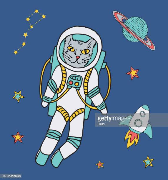 Vector cat astronaut in space