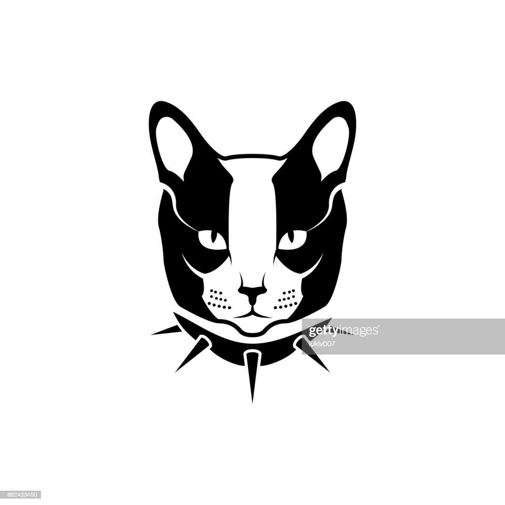Vektor Katze Kopf Gesicht Für Retrohipstersymbole Embleme Abzeichen ...