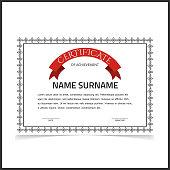 Vector certificate template with dark grey designe borders.