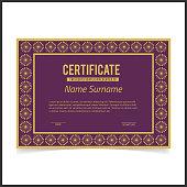 Vector certificate template with golden designe borders on purple card.