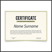 Vector certificate template with green designe borders on white card.