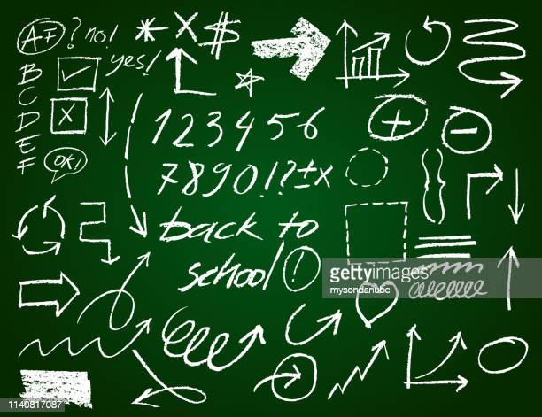 Vector chalk and brush stroke set of arrows, signs and numbers