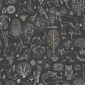 Vector chalk woodland seamless pattern on blackboard background.