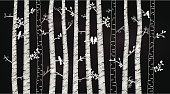 Vector Chalkboard Birch or Aspen Trees