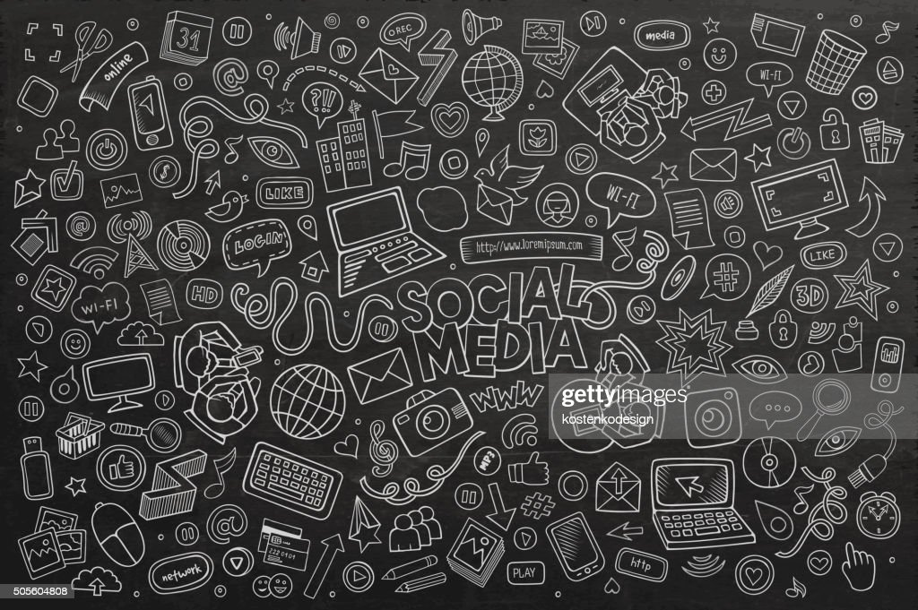 Vector chalkboard line art Doodle cartoon set of objects