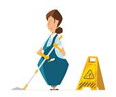 Vector character cleaner lady janitor woman in uniform cleaning