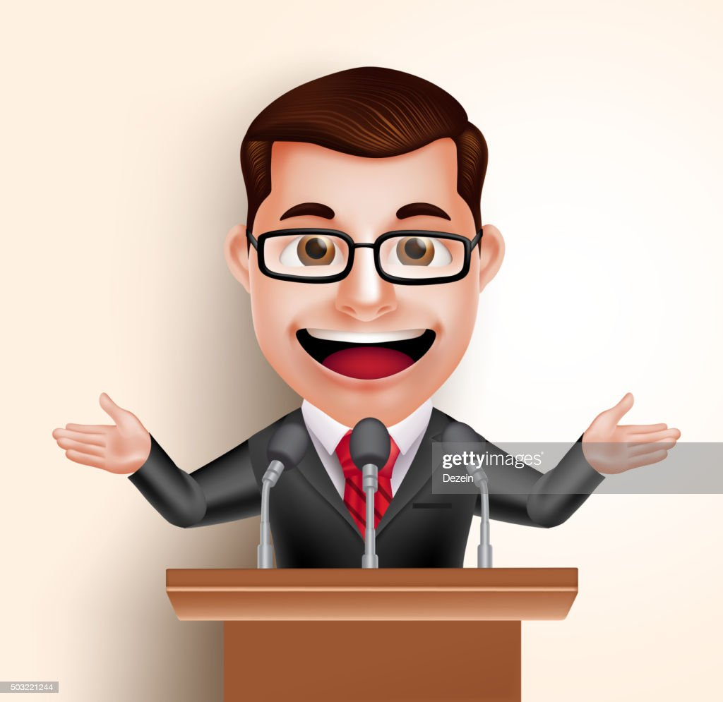 Vector Character Happy Politician Man or Speaker in Conference