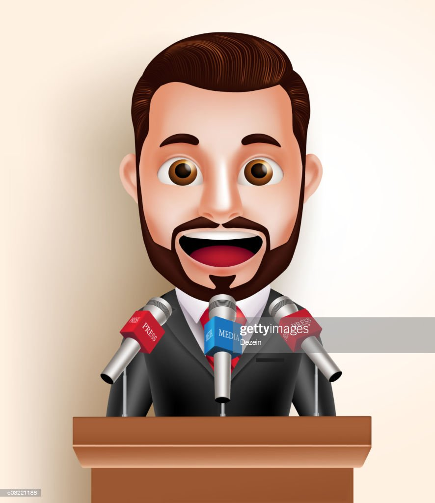 Vector Character Happy Politician Man or Speaker with Media Press