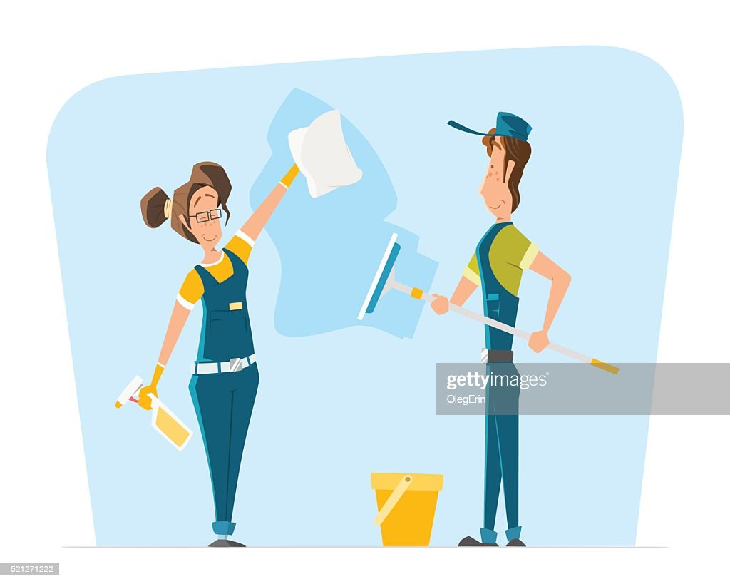 Vector character illustration smile woman man uniform cleaning big window