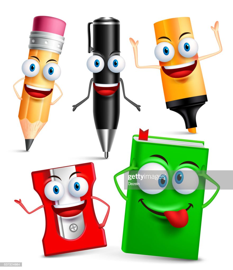 Vector character of school items funny mascot 3D set