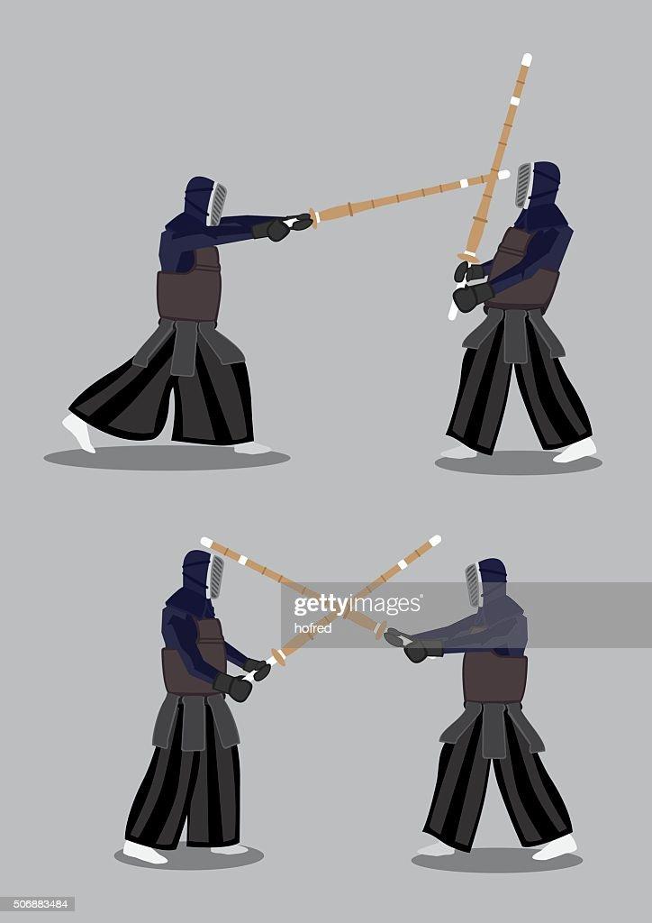 Vector Characters Kendo Martial Arts Combat Sports