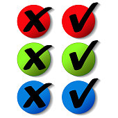 Vector check mark symbols, buttons