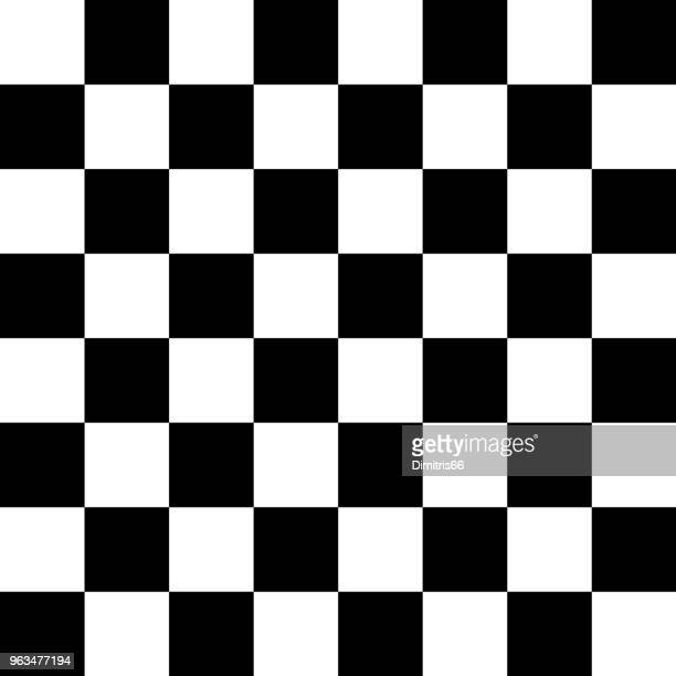 vector checker chess square black and white seamless background - checked pattern stock illustrations