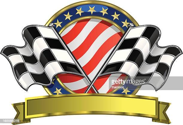ilustrações, clipart, desenhos animados e ícones de vetor bandeira quadriculada logotipo - esporte motorizado