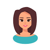 Vector cheerful smiling girl in cartoon flat style.