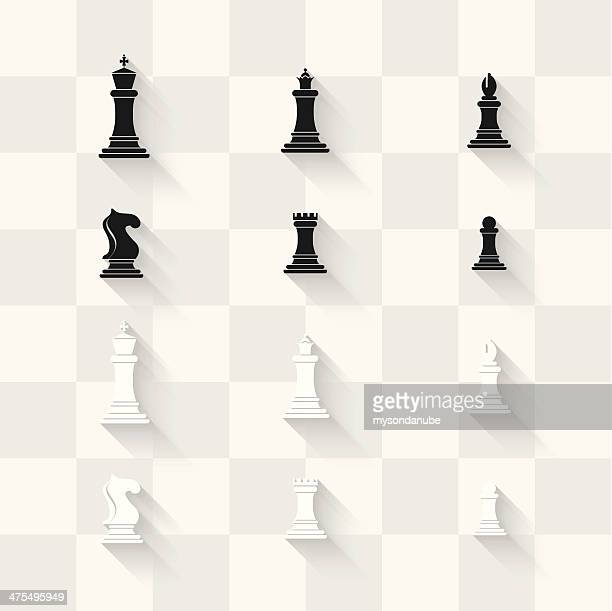 Vector iconos de ajedrez con tablero de ajedrez