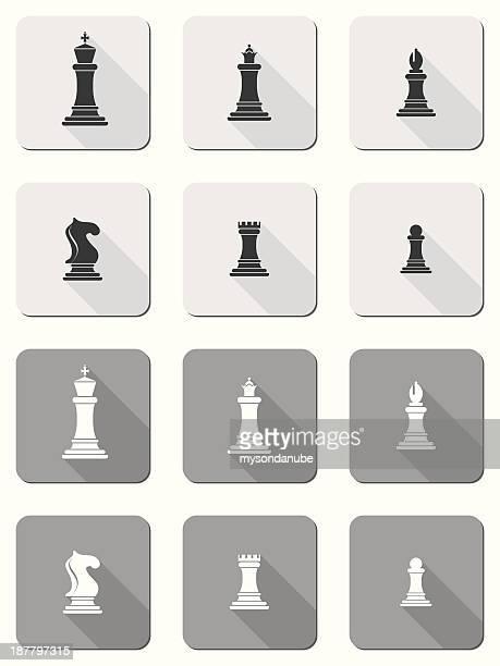 chessmen vector conjunto de iconos de diseño plano con largas sombras