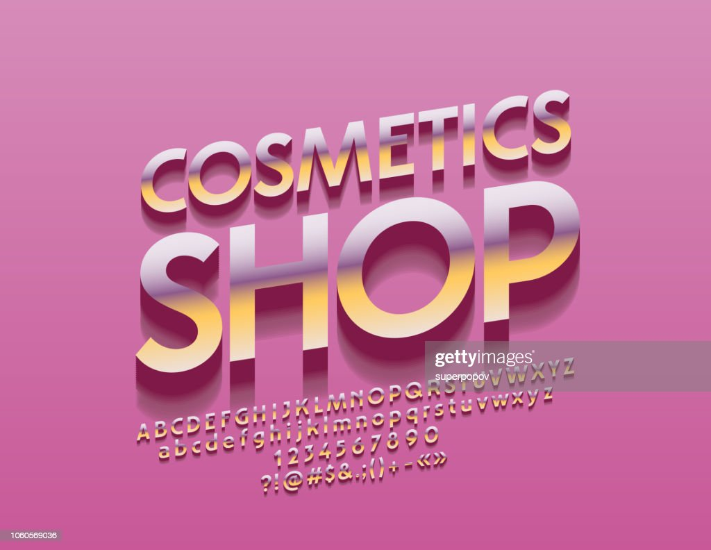 Vector chic Pink and Golden sign Cosmetic Shop with Alphabet
