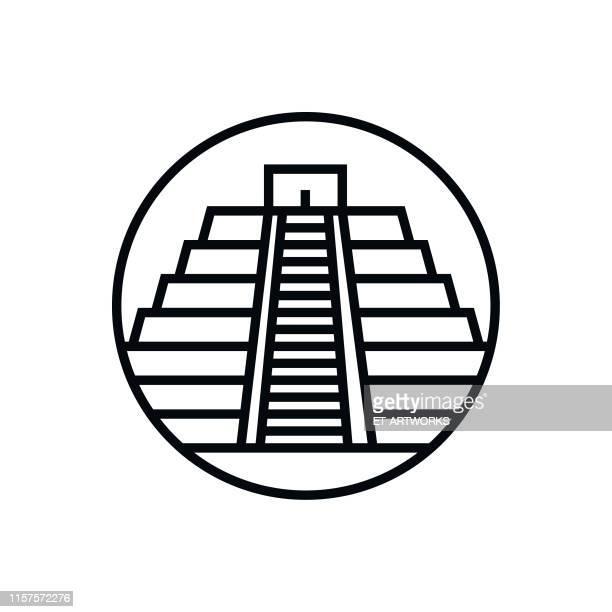 ilustrações de stock, clip art, desenhos animados e ícones de vector chichen itza - outline icon - astecas