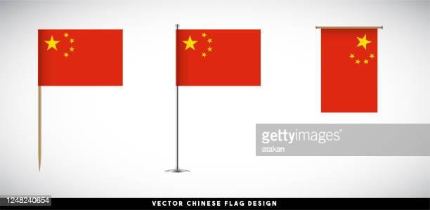 vector chinese flag set on white background - chinese flag stock illustrations