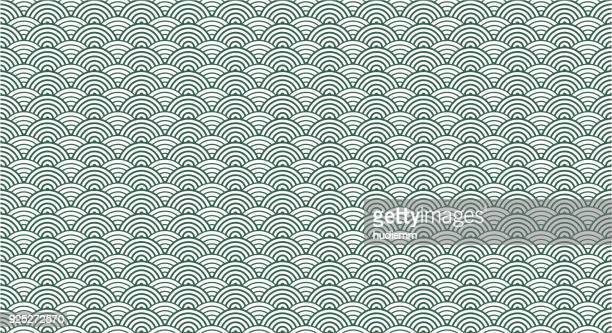 illustrazioni stock, clip art, cartoni animati e icone di tendenza di vector chinese traditional wave pattern background - motivo ornamentale