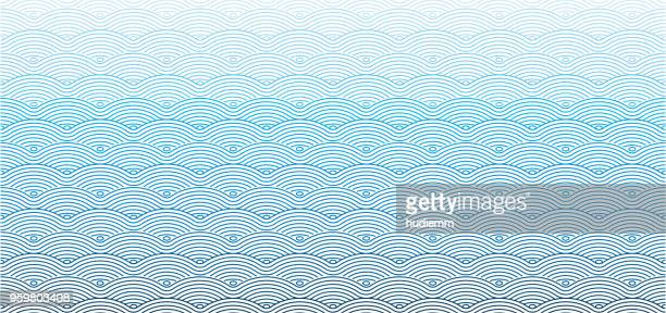 illustrazioni stock, clip art, cartoni animati e icone di tendenza di vector chinese traditional wave seamless pattern background - motivo a onde