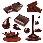 Vector chocolate isolated objects big set. Realistic illustration for design uses