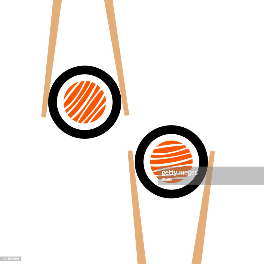 Vector chopsticks hHolding sushi roll frame