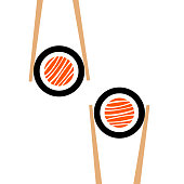 Vector chopsticks hHolding sushi roll frame