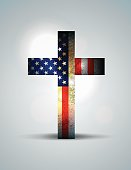 Vector Christian Cross and American Flag Illustration