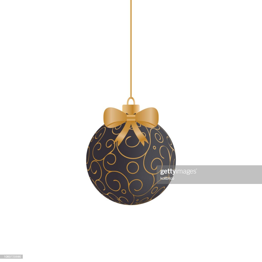 Vector Christmas background with black and gold hanging Christma