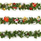 Vector Christmas Border Set with Garland