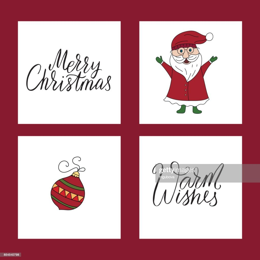 vector christmas card set with illustrations and hand lettering
