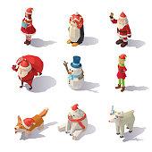 Vector Christmas characters Isometric