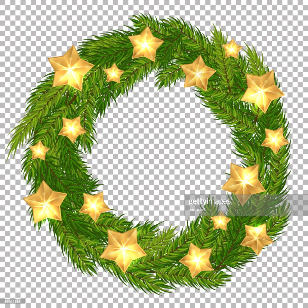 Vector Christmas decorative wreath with gold stars on transparent background