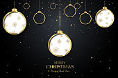 Vector Christmas design for your seasonal flyers and greeting cards. Black banner with hanging golden christmas balls