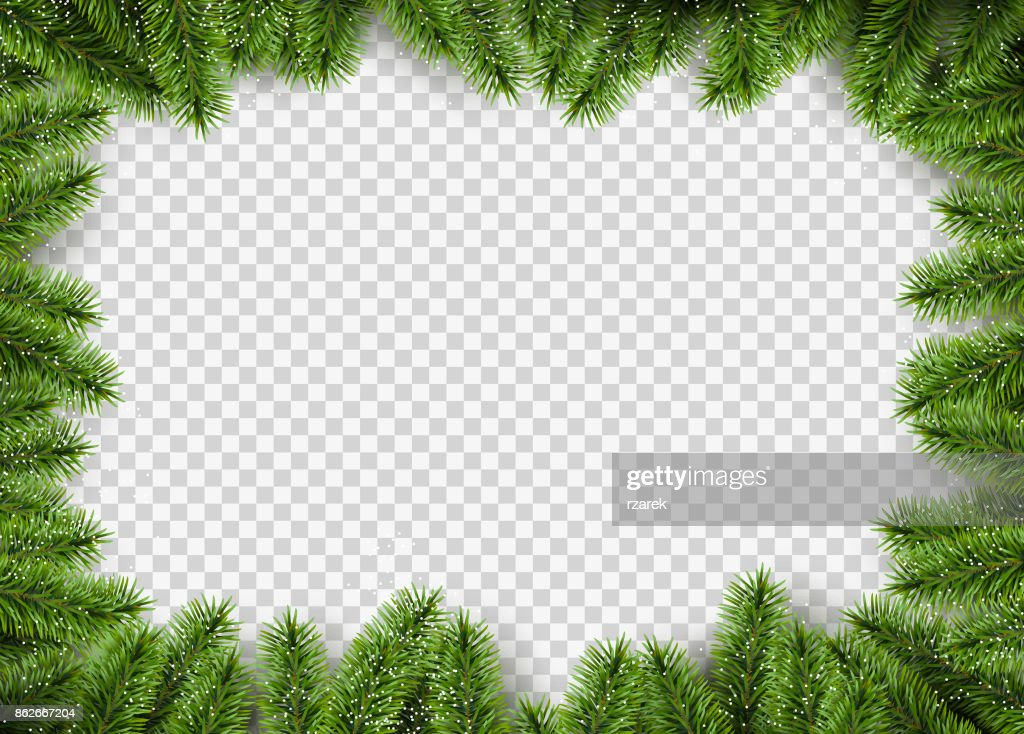 Vector christmas frame with pine branches.