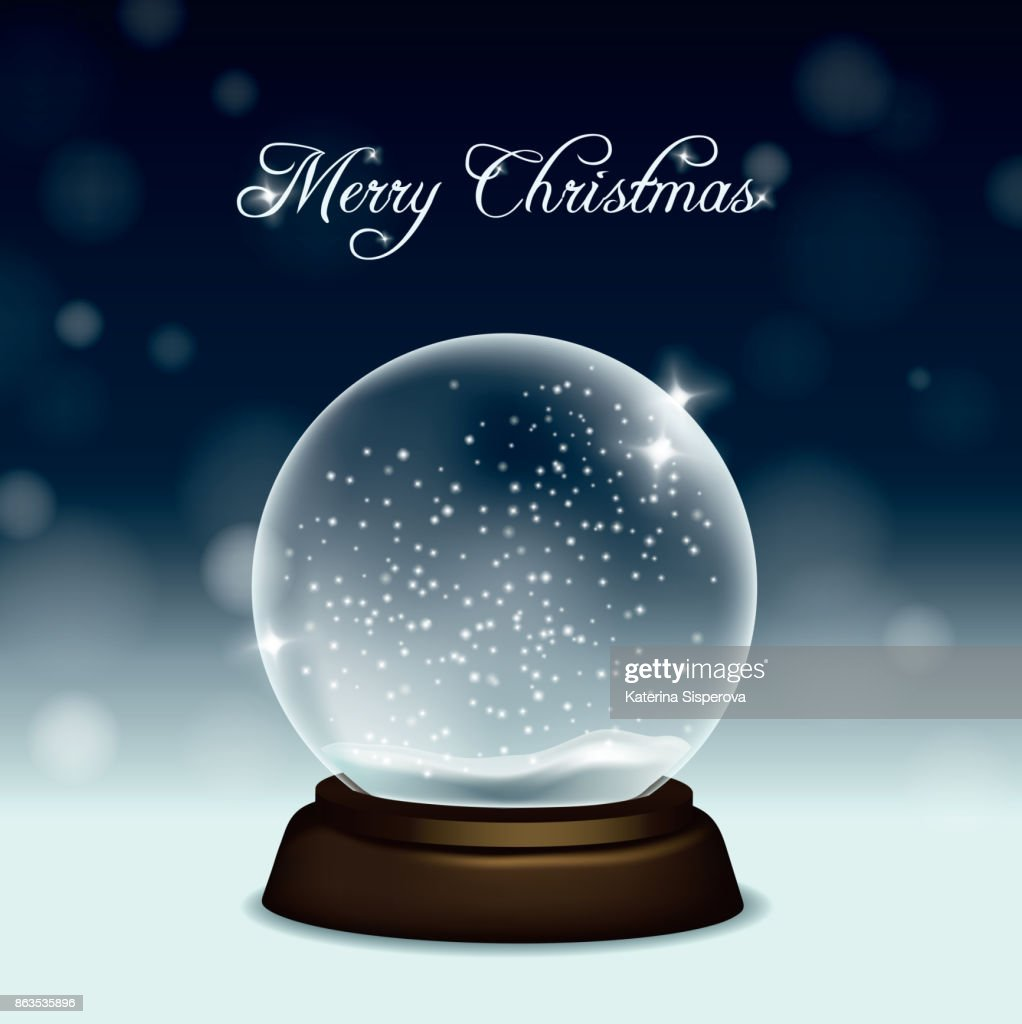 Vector christmas greeting card with snow globe on snow and night sky background