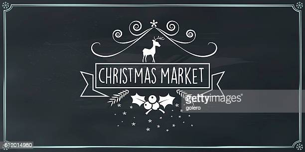 vector christmas market vintage badge on chalk board