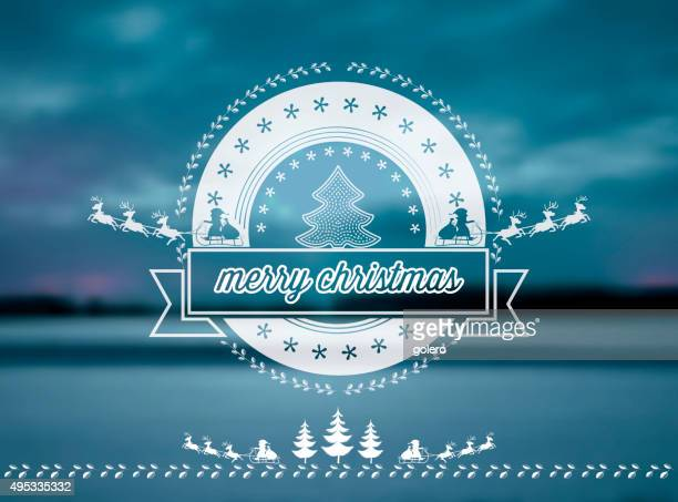 vector christmas night  line symbol on blue blurred winter background