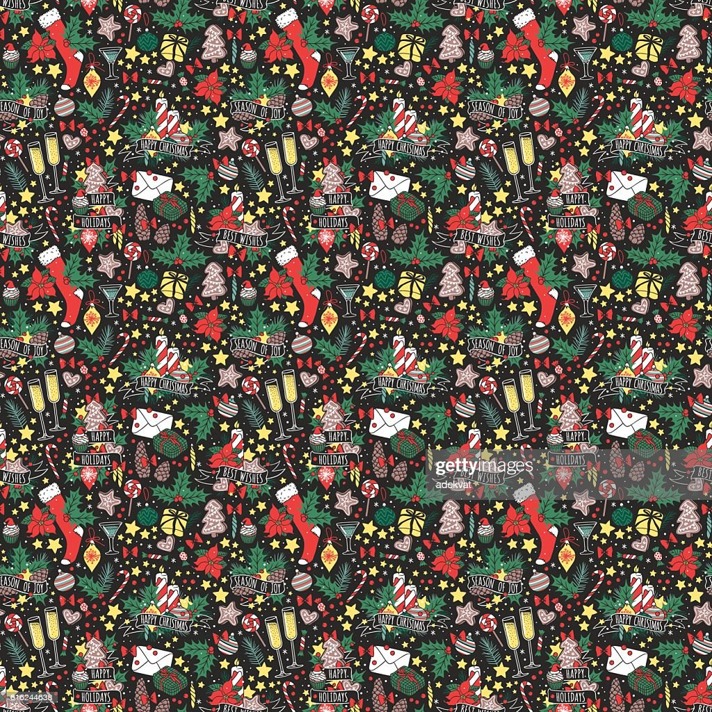 Vector Christmas seamless pattern. : Arte vetorial