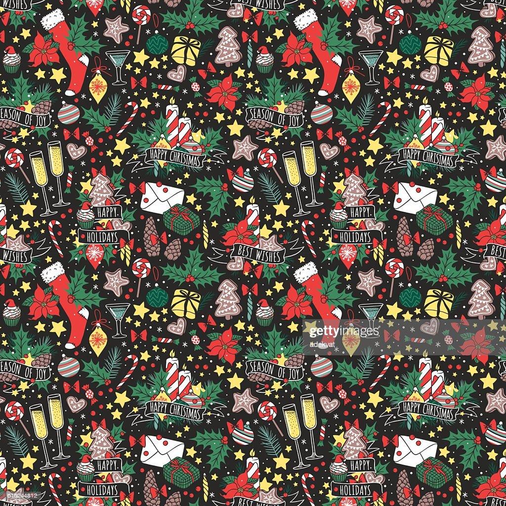 Vector Christmas seamless pattern. : Vector Art