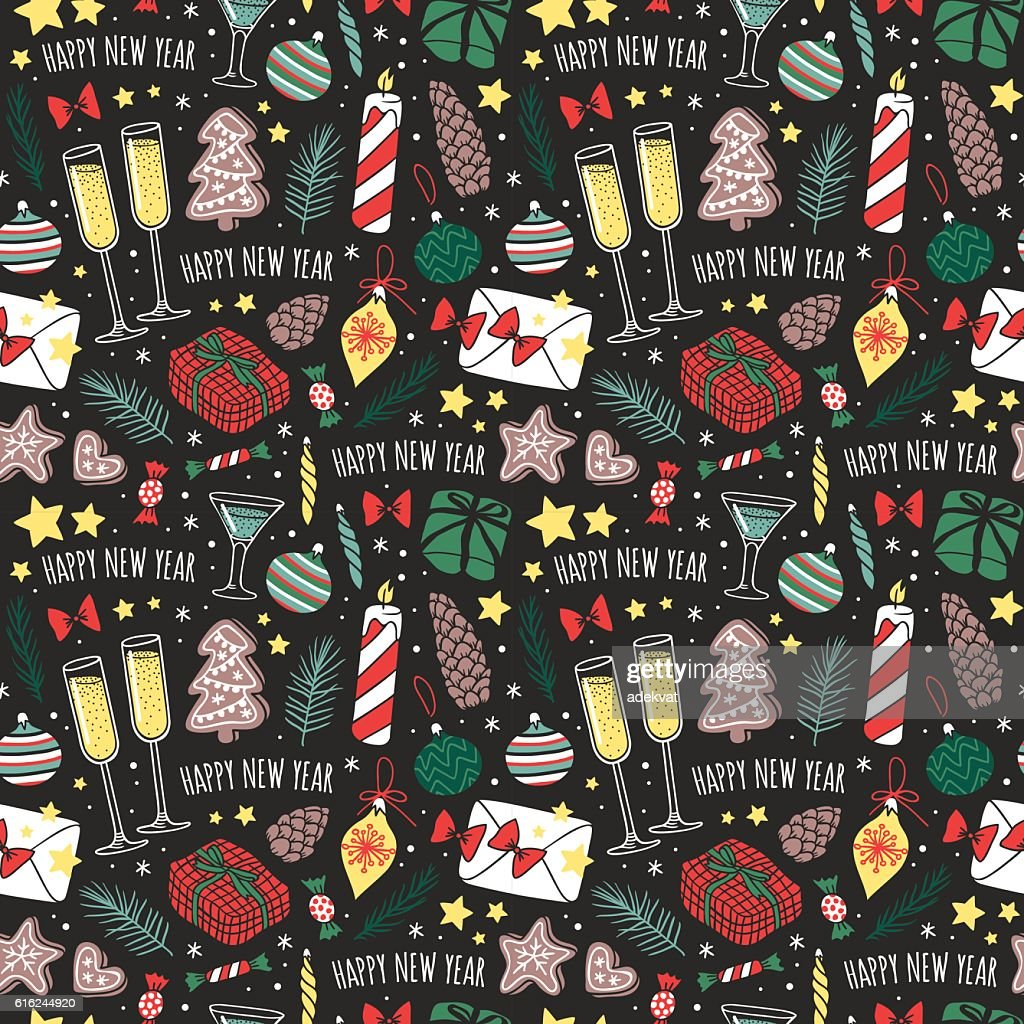 Vector Christmas seamless pattern. : Arte vetorial