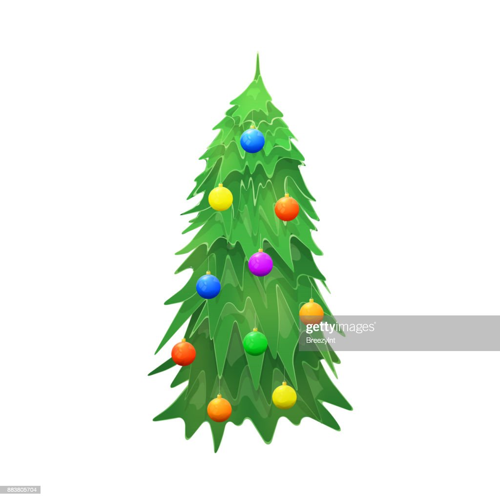 Vector Christmas Tree Isolated on Wite Background
