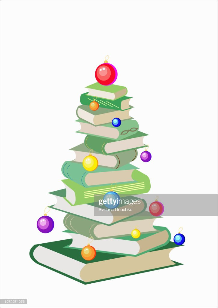 Vector Christmas tree made from colorful books. Decorated with balls. Isolated white background. Cartoon x-mas illustration. Cute bright pile of books. Home library. Happy education.