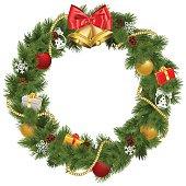 Vector Christmas Wreath with Golden Bells