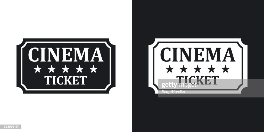 Vector cinema ticket icon. Two-tone version