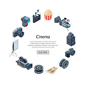 Vector cinematograph elements in circle shape form