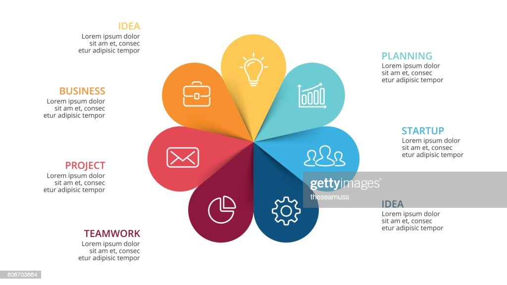 Vector circle arrows flower infographic, cycle diagram, graph, presentation chart. Business concept with 7 options, parts, steps, processes. Slide template