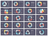 Vector circle arrows infographic, cycle diagram, graph, presentation chart. Business concept with 3, 4, 5, 6, 7, 8 options, parts, steps, processes. 16x9 dark slide templates bundle